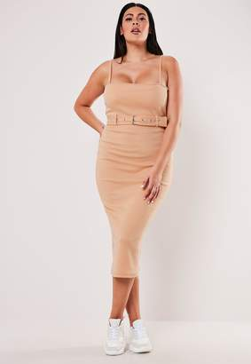 Missguided Plus Size Nude Rib Belted Strappy Midi Dress