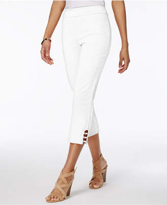 JM Collection Petite Tummy-Control Lattice-Hem Capri Pants