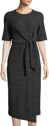 Maggy London Tie-Front Faux-Wrap Midi Dress