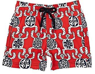Vilebrequin Kids' Geometric-Turtle-Print Swim Trunks - Red