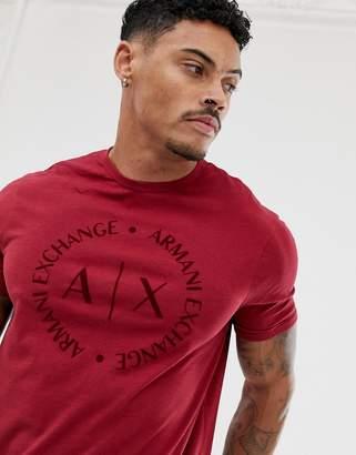 Armani Exchange text circle logo t-shirt in burgundy