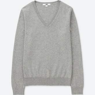 Uniqlo WOMEN Cotton Cashmere V Neck Sweater