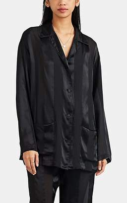 Kiki de Montparnasse Women s Le Cou Cou Sheer-Striped Silk Pajama Shirt -  Black e7cb2e8bd