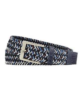 W.KLEINBERG W. Kleinberg Men's Sport Stretch Belt with Crocodile-Trim, Blue