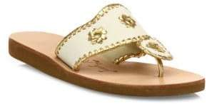 Jack Rogers Boating Metallic Whipstitch Canvas Sandals