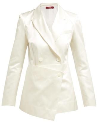 Sies Marjan Tommie Double Breasted Satin Blazer - Womens - White