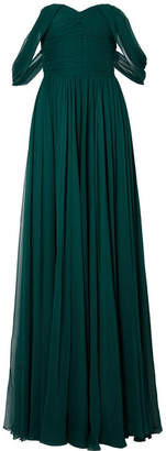 Jason Wu Off-the-shoulder Pleated Silk-chiffon Gown - Dark green
