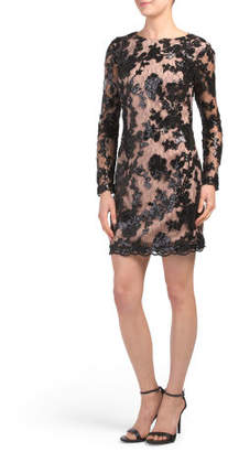 Made In Usa Grace Long Sleeve Sequin Lace Dress
