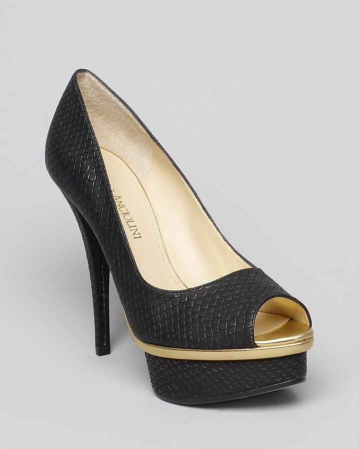 Enzo Angiolini Peep Toe Platform Pumps - Loveutoo High Heel