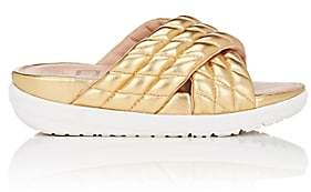 FitFlop LIMITED EDITION Women's Quilted Metallic Leather Slide Sandals-Gold
