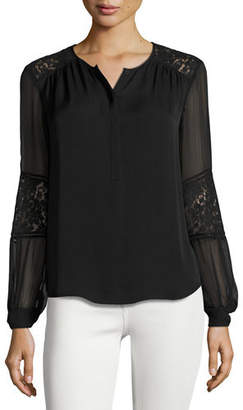 Rebecca Taylor Sarah Silk Lace-Panel Top