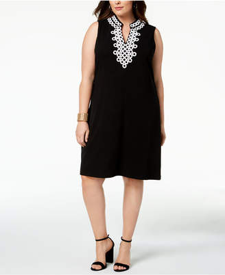Charter Club Plus Size Crochet-Trim Dress, Created for Macy's