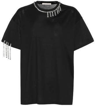 Christopher Kane Rhinestone fringe cotton T-shirt