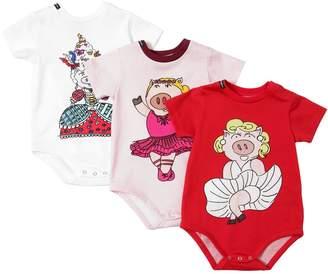 Dolce & Gabbana Set Of 3 Pig Print Cotton Bodysuits