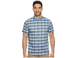 Nautica Short Sleeve Wear To Work Large Plaid Shirt Men's Short Sleeve Button Up