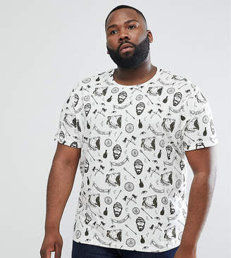 Brave Soul PLUS All Over Beard Print T-Shirt