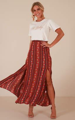 Showpo Longest Day maxi skirt in red print