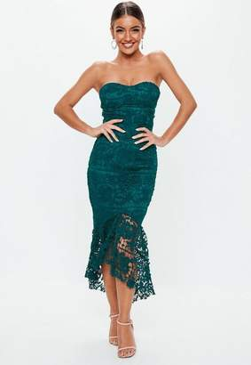 Missguided Teal Lace Bandeau Bust Cup Midi Dress