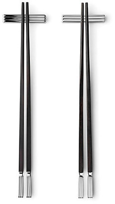 Georg Jensen Set of 2 Bernadotte Chopsticks - Black/Silver