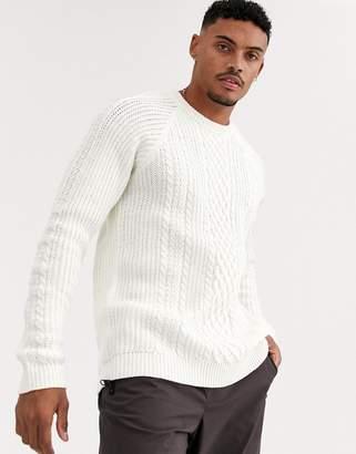 Bershka cable knit jumper in ecru