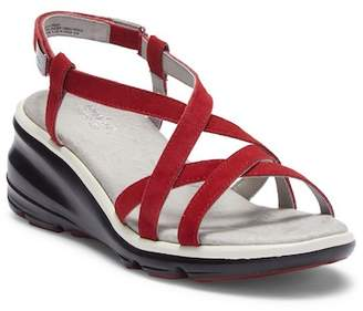 Jambu Ginger Leather Wedge Sandal