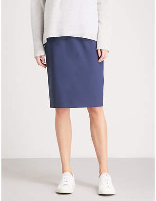 Theory Sea Blue Hemdall Stretch-Wool Pencil Skirt