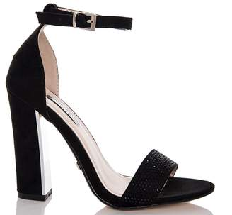 Quiz *Quiz Black Faux Suede Block Heel Sandals