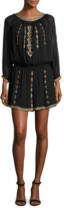 Joie Berline Embroidered Blouson Dress, Caviar/Antique Bronze