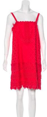 Anna Sui Crochet-Trimmed Matelassé Dress w/ Tags