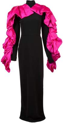 Christian Siriano contrast ruffled detail gown