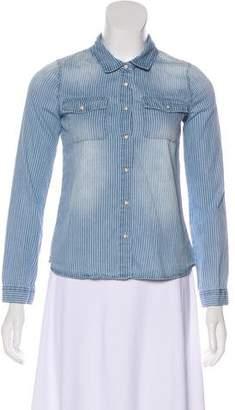 Aqua Striped Long Sleeve Top