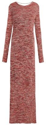Bottega Veneta Backless Ribbed Knit Cotton Dress - Womens - Red Multi