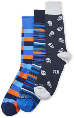 Unsimply Stitched 3-Pack Skulls & Stripes Crew Socks