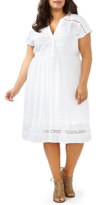 Plus Size Women's Michel Studio Crochet Inset Dress $110 thestylecure.com