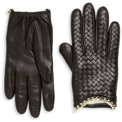 Portolano Intrecciato-Weave Leather Gloves $225 thestylecure.com