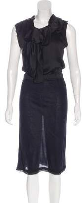 Lanvin Silk-Paneled Sleeveless Dress