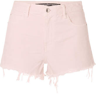 Alexander Wang Bite Frayed Denim Shorts - Pastel pink