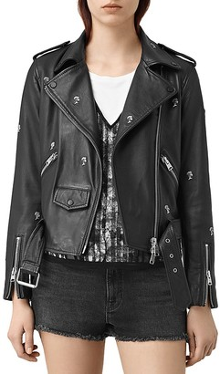 ALLSAINTS Eaves Palm Tree Studded Leather Motorcycle Jacket $650 thestylecure.com