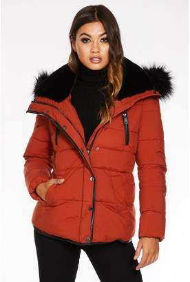 Quiz Rust Padded Faux Fur Trim Jacket