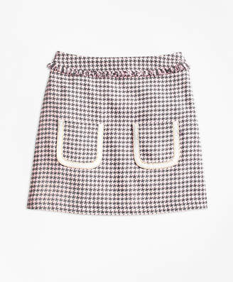 Brooks Brothers Girls Cotton Blend Houndstooth Tweed Skirt
