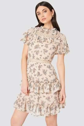Glamorous High Neck Floral Ruffle Dress Blush Floral Bunch