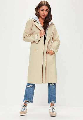 Missguided Beige Hooded Contrast Trench Coat