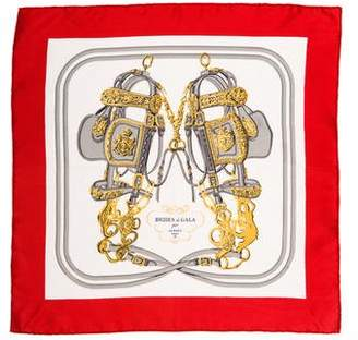 Hermes Brides de Gala Silk Pocket Square