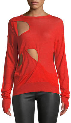 Helmut Lang Crewneck Cutout Long-Sleeve Wool-Silk Sweater