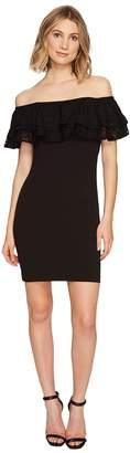 Jessica Simpson Solid Scuba Ruffle Off the Shoulder Dress Women's Dress