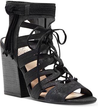 Vince Camuto Ranata Lace-Up Block-Heel Sandals Women's Shoes $129 thestylecure.com