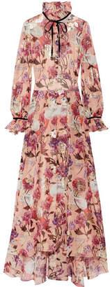 Temperley London Magritte Velvet-trimmed Fil Coupé Silk-blend Chiffon Maxi Dress - Pink