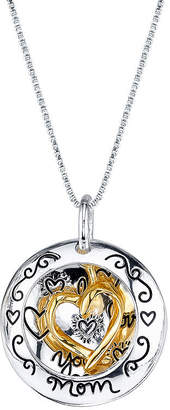 FINE JEWELRY Inspired Moments 10K Gold Over Silver Two-Tone Heart Mom Pendant Necklace