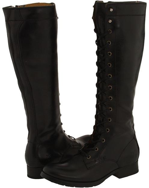 Frye Melissa Tall Lace (Black Leather) - Footwear
