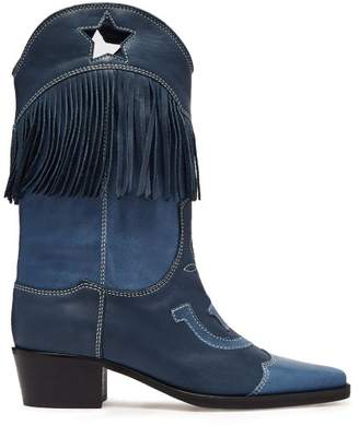 Ganni Tove Fringed Leather Western Boots - Womens - Blue
